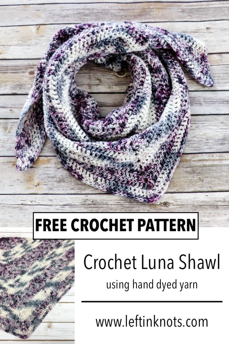 This easy crochet pattern uses simple double crochet stitches and one-of-a-kind hand-dyed yarn to make a stunning shawl or triangle scarf. This pattern is easy enough for beginners and can easily be made in any size. Keep reading for the free crochet pattern.