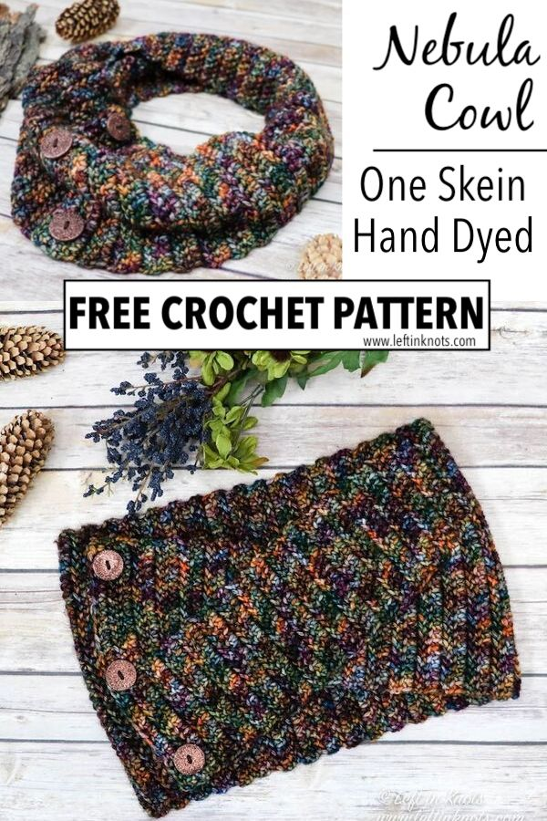 This easy crochet pattern uses herringbone half double crochet stitches and one-of-a-kind hand-dyed yarn to make a twist accented cowl. This pattern is simple enough for beginners and can easily be adjusted in size.