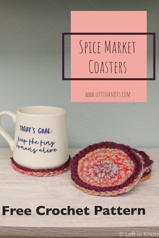 This easy stash buster crochet pattern uses your leftover scrap yarn to make chic little coasters. These crocheted coasters are a quick and easy way to update your decor for the season and they also make a fast and adorable DIY teacher gift when paired with a mug and coffee gift card.