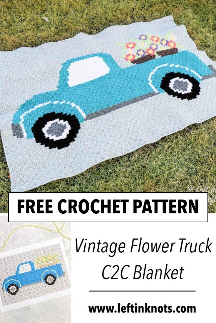 Crochet Vintage Flower Truck C2c Free Pattern Left In Knots