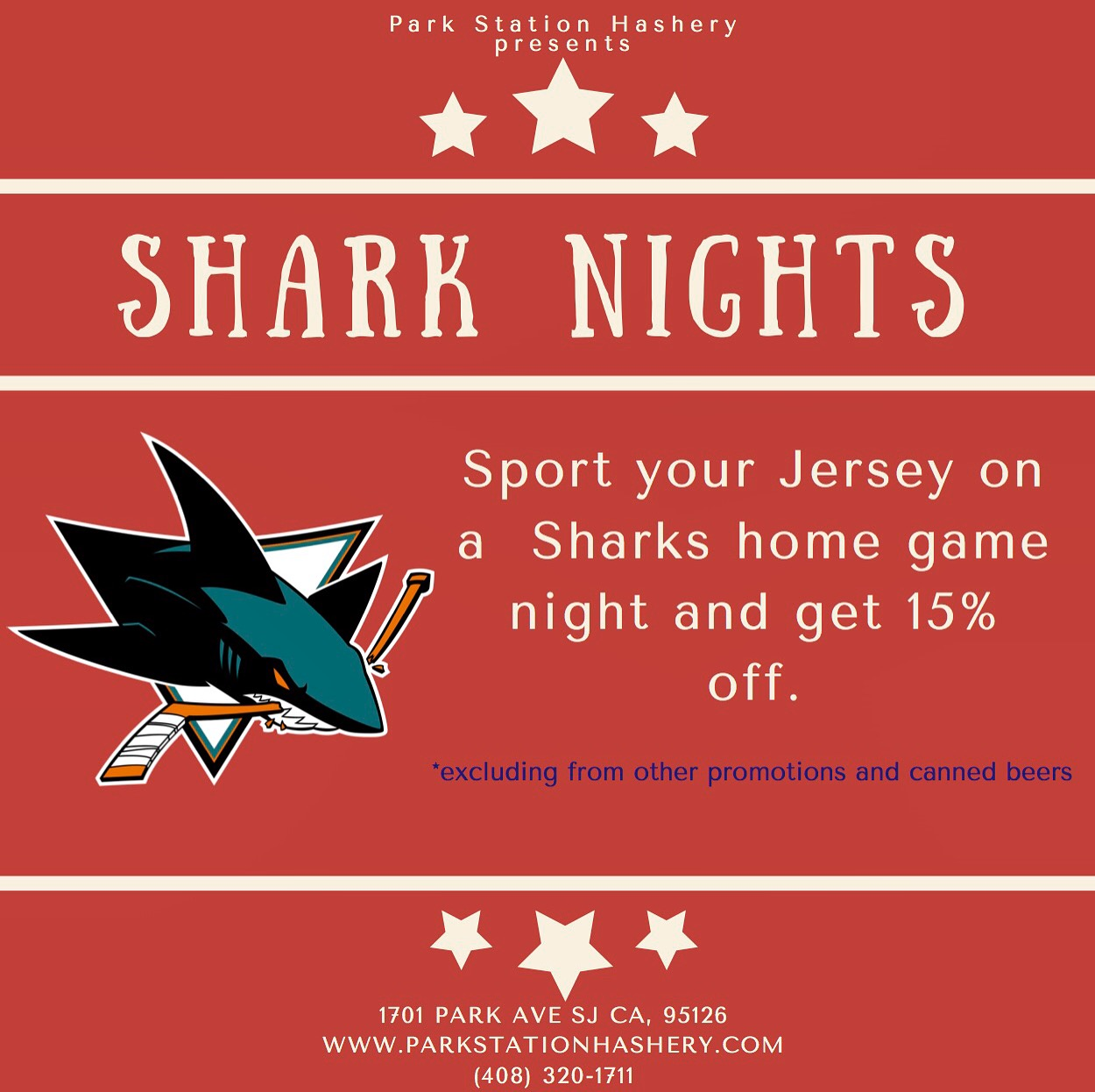 Sharks Jersey Nights - We will show every home game in house so sport your jersey to receive 15% off your total.*excluding other promotions and canned beers