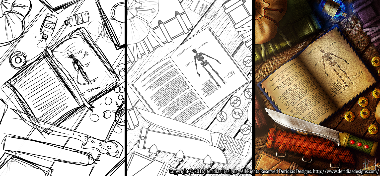 My typical process from roughs to clean lines to colours!