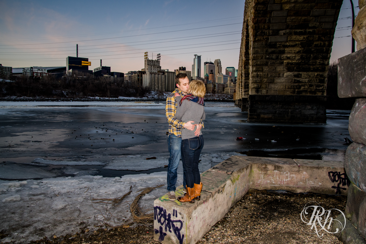 Kate & Kyle - Minnesota Sunrise Engagement Photography - Stone Arch Bridge - RKH Images (10 of 18).jpg
