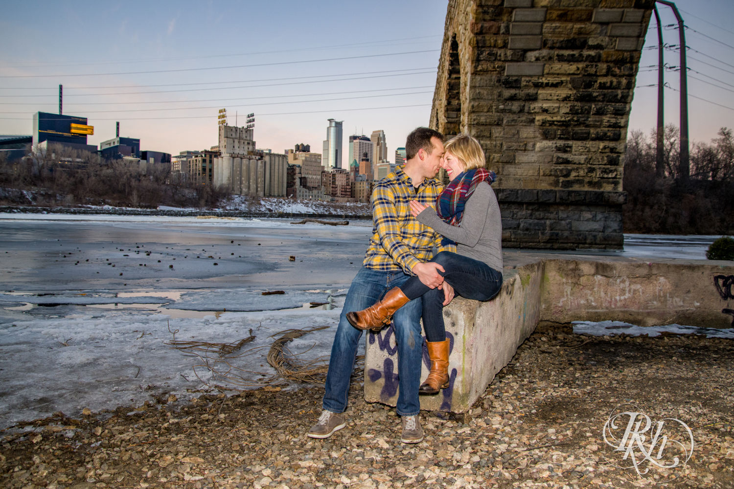 Kate & Kyle - Minnesota Sunrise Engagement Photography - Stone Arch Bridge - RKH Images (11 of 18).jpg