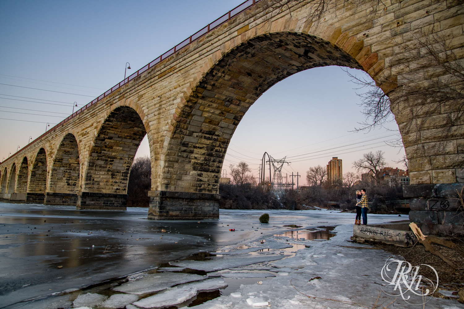 Kate & Kyle - Minnesota Sunrise Engagement Photography - Stone Arch Bridge - RKH Images (12 of 18).jpg