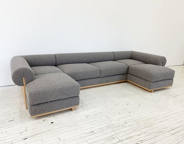Custom sectional in oak and bouclé for very special client @for_reference 😘🤙🏼