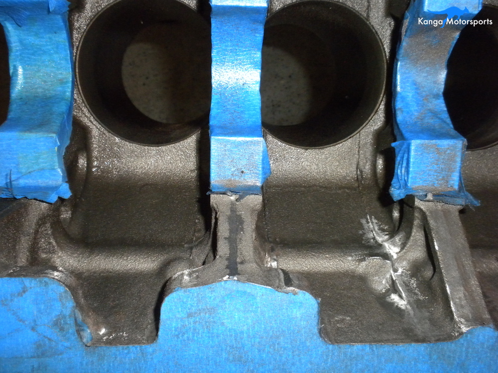Engine Block Modifications Grind Down the Casting Flash.JPG