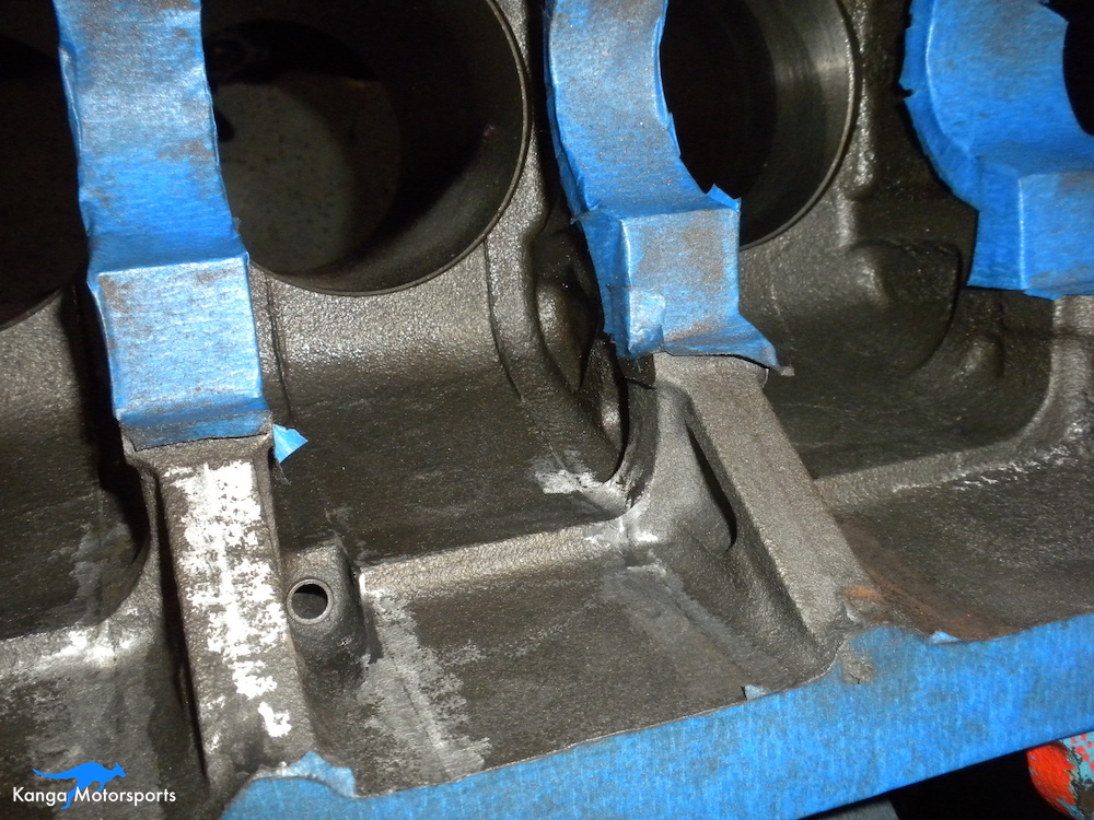 Engine Block Modifications Grind Down the Casting Flash 2.JPG