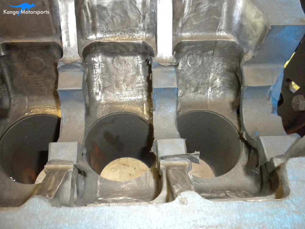 Engine Block Modifications Fine Sanding Down the Casting Finish 2.JPG