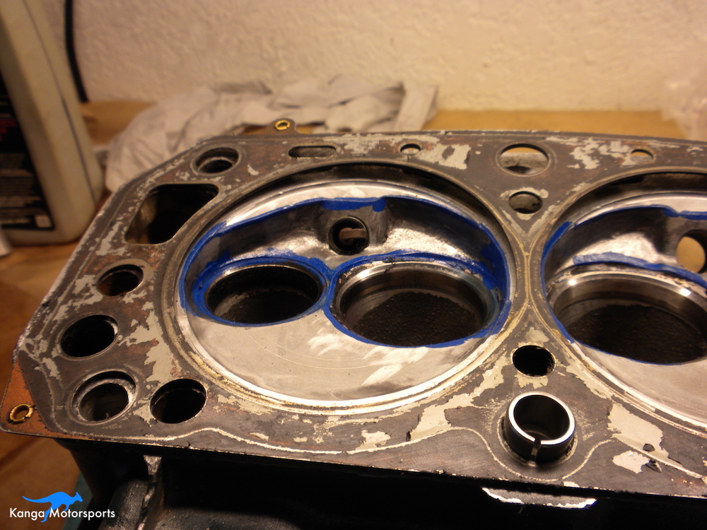 Datsun Cylinder Head Marking with Head Gasket.JPG