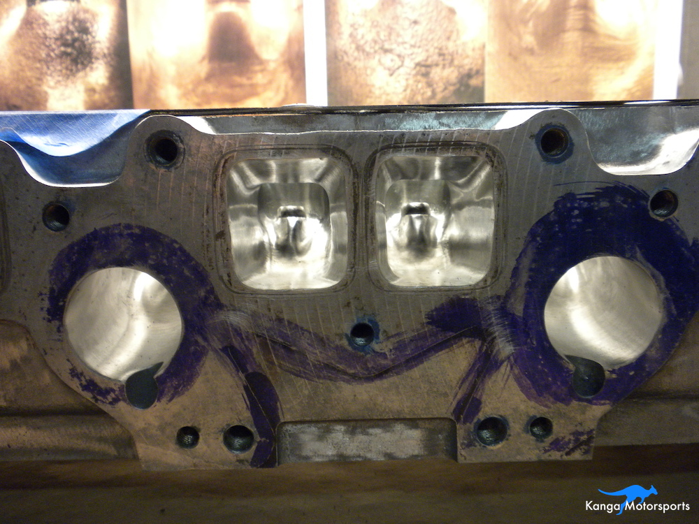 Datsun Cylinder Head Polished Exhaust Ports.JPG