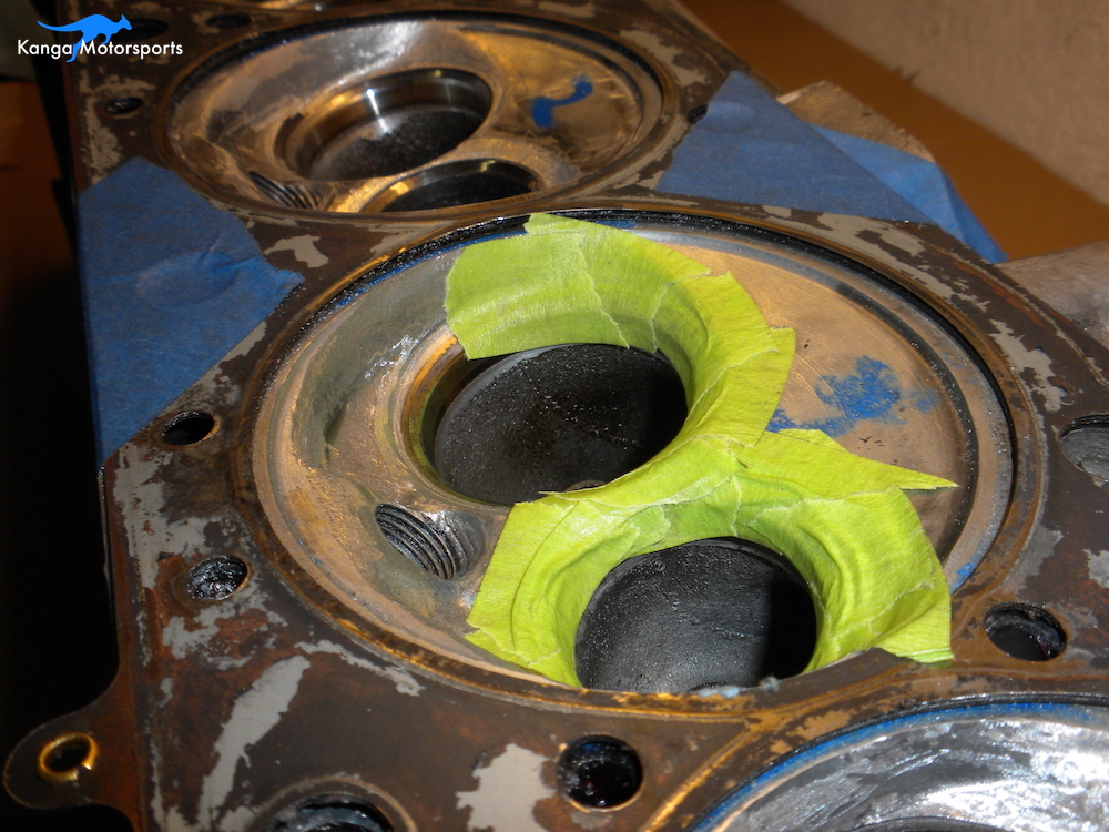 Datsun Cylinder Head Porting Tape the Valve Seats.JPG