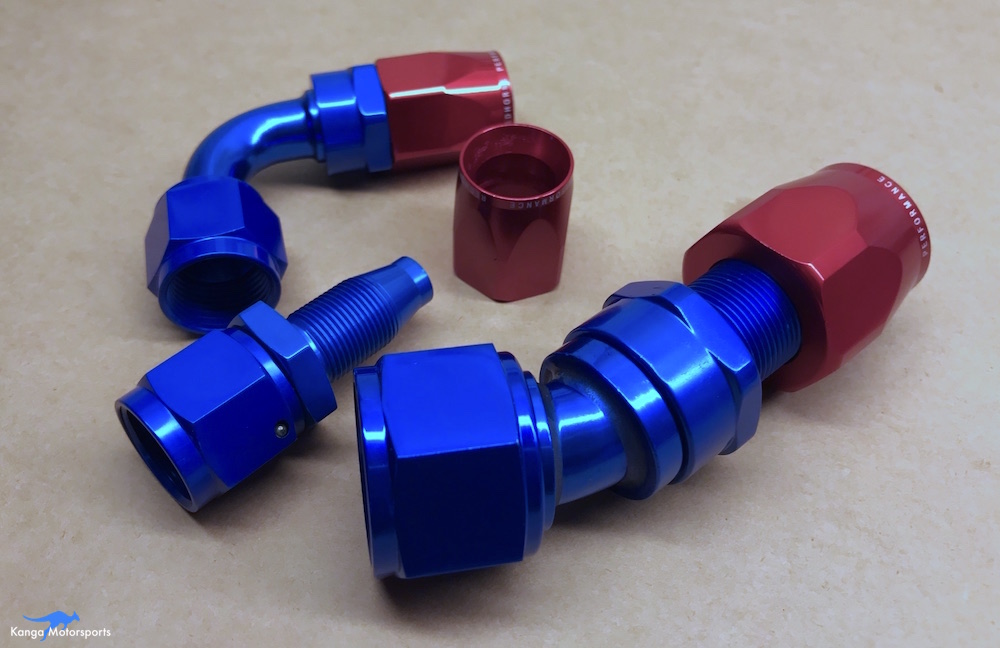 Kanga Motorsports AN fittings different sizes and angles disassembled.JPG