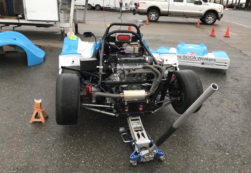 Kanga Motorsports Spec Racer Ford Gen3 SCCA Thunderhill March 2018 Pulling the starter motor in the start of the rain.JPG