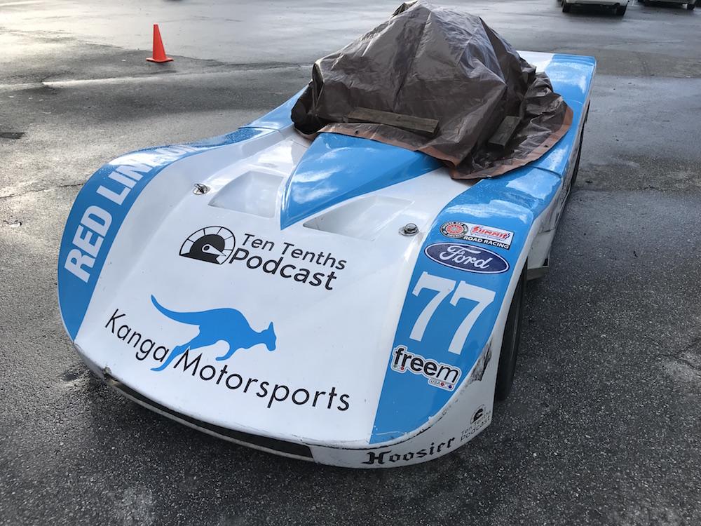 Kanga Motorsports Spec Racer Ford Laguna Seca 2018 Wet Weather Cover Up Qualifying Postponed.JPG