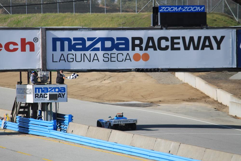 Kanga Motorsports Spec Racer Ford Laguna Seca 2018 Checkered Flag.JPG