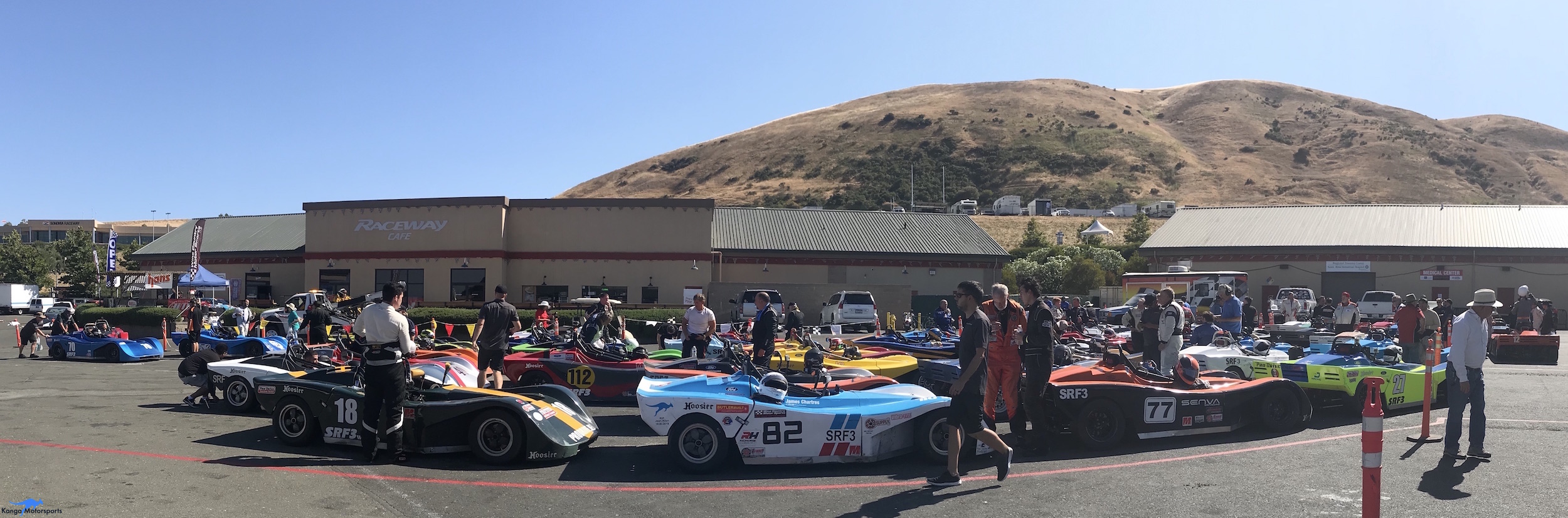 The Spec Racer Fords in Impound at Sonoma Raceway for the 2018 SCCA Majors.