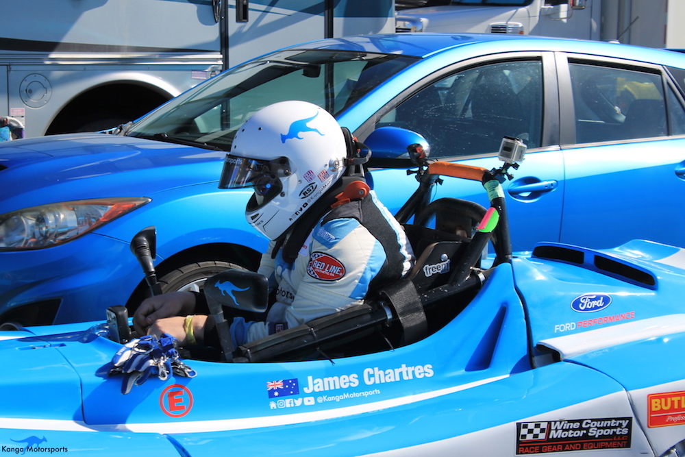 Kanga Motorsports 2018 Sonoma Majors Spec Racer Ford Gen3 Suiting Up and Straping In.JPG