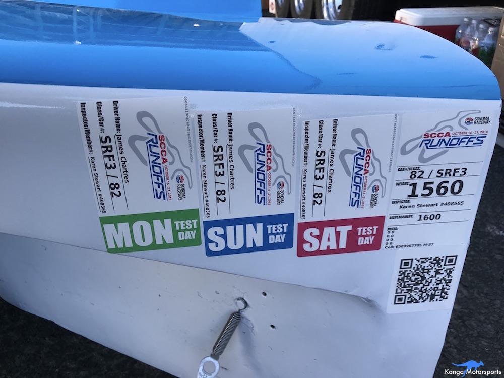 Kanga Motorsports SCCA Runoffs Spec Racer Ford Gen3 Sonoma Raceway Testing Registration.JPG