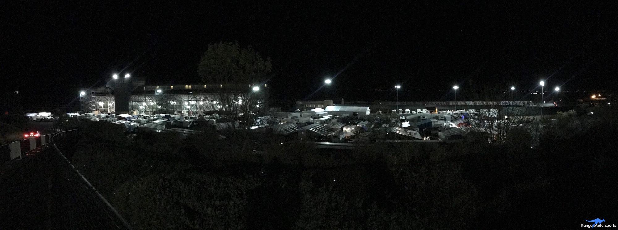 Kanga Motorsports SCCA Runoffs Spec Racer Ford Gen3 Sonoma Raceway Paddock at Night.JPG