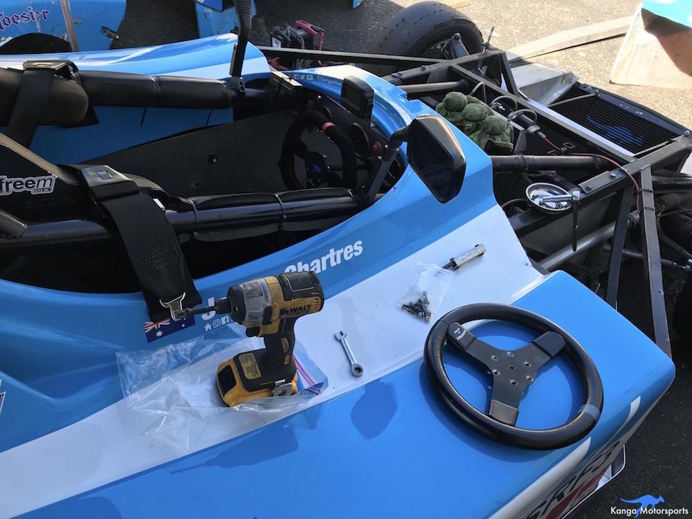 Kanga Motorsports SCCA Runoffs Spec Racer Ford Gen3 Sonoma Raceway Installing New Steering Wheel.JPG