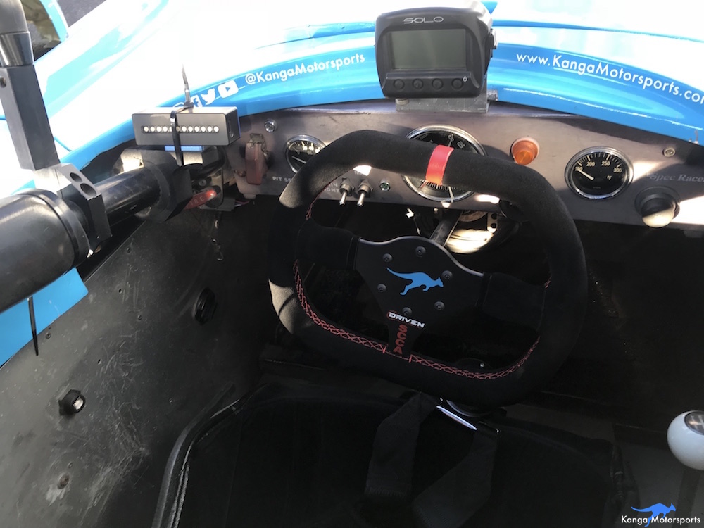 Kanga Motorsports SCCA Runoffs Spec Racer Ford Gen3 Sonoma Raceway New Steering Wheel.JPG