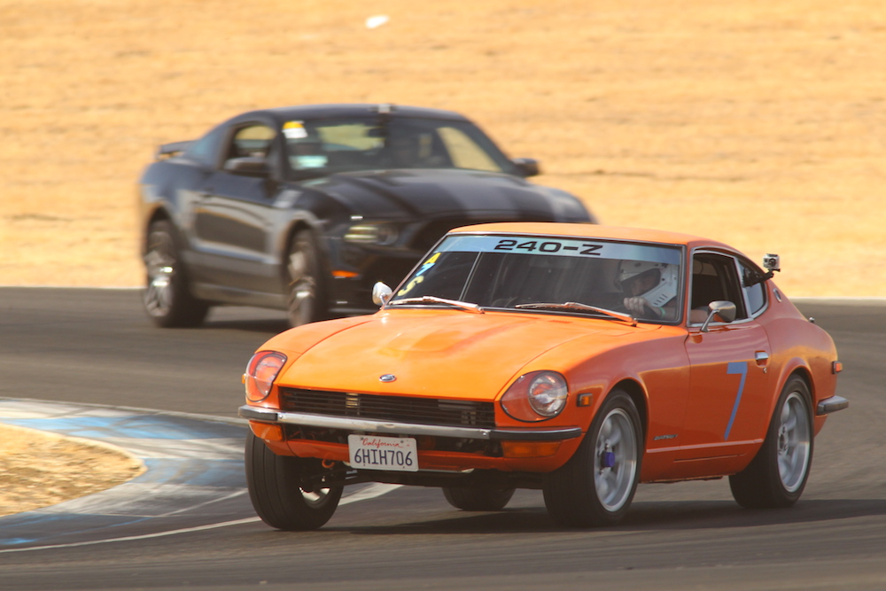 The Kanga Motorsports 1972 Datsun 240z on track at Thunderhill Raceway. Photo by GotBlueMilk.