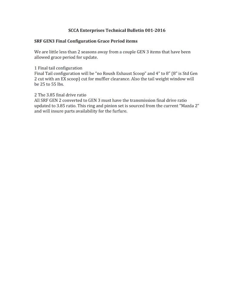 TB 001-2016 Gen3 Configuration