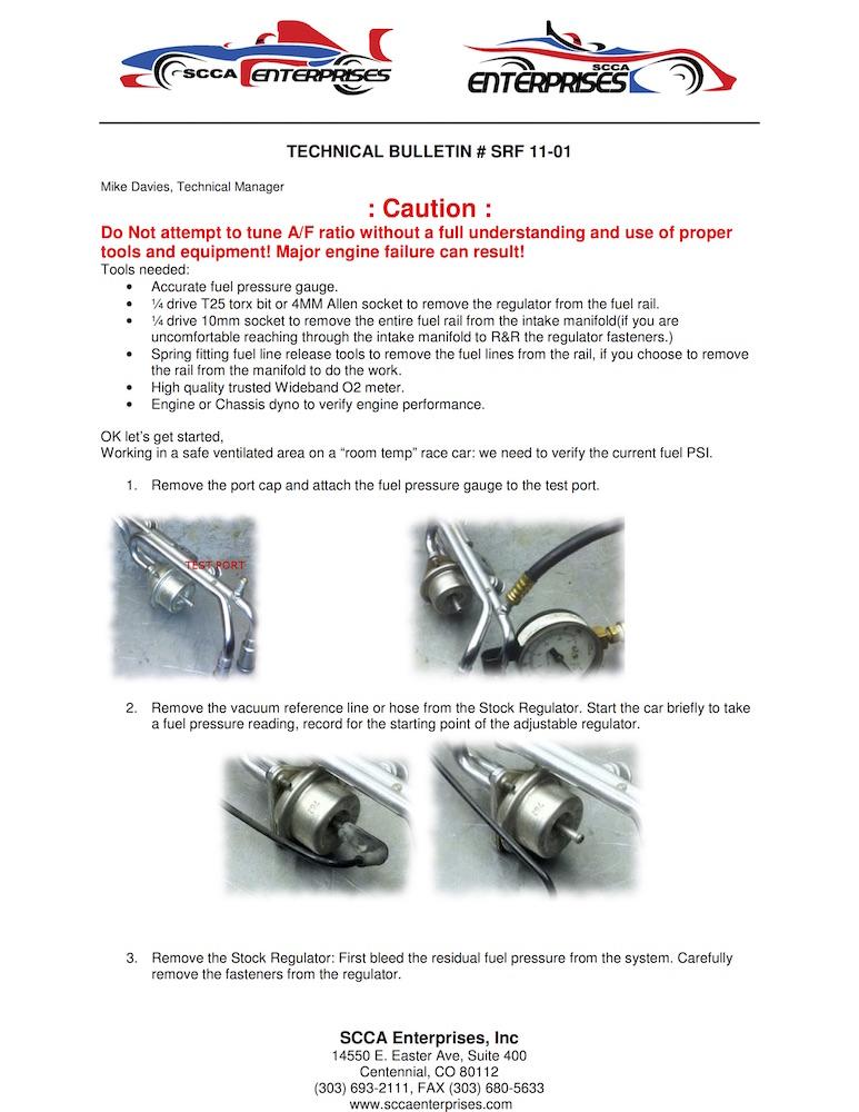 TB 11-01 Fuel Pressure Reg