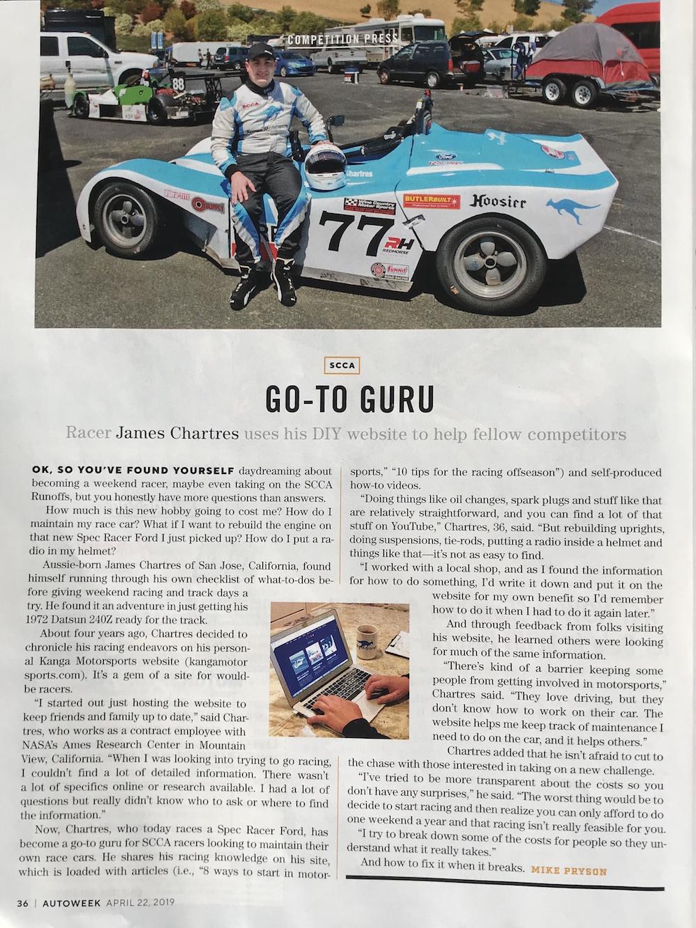 Kanga Motorsports Autoweek April 2019 Print Article.JPG