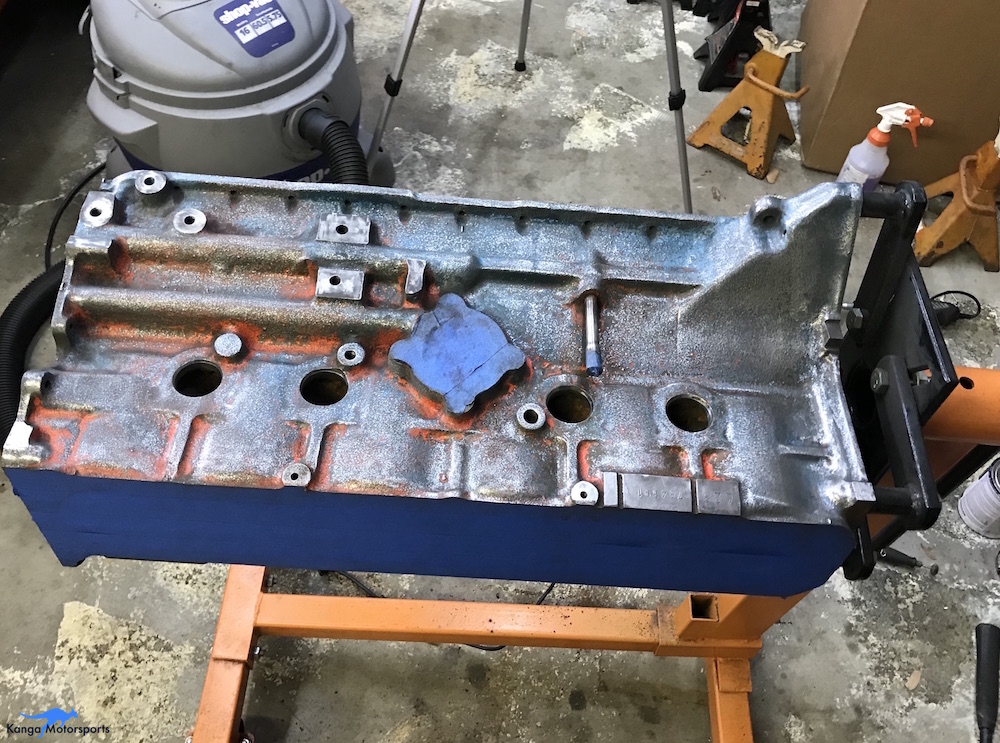 Kanga Motorsports Datsun 240z Engine Build Removing Engine Block Paint and Rust Removal.JPG