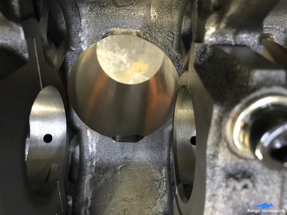 Reliefs were cut into the bottom of the cylinder bores to ensure there is sufficient clearance to the connecting rods.