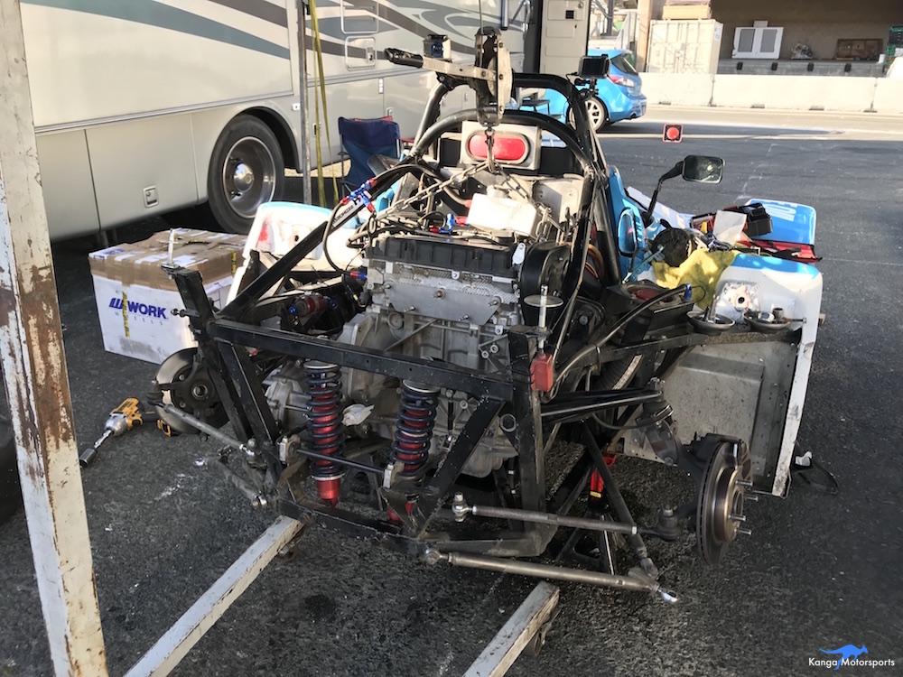 Kanga Motorsports Spec Racer Ford Gen3 Sonoma Raceway Races 9 & 10 Removing Transmission.JPG