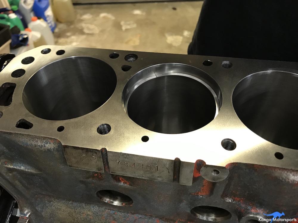Kanga Motorsports Datsun 240z Engine Build Piston Ring Gap Checking in Block.JPG