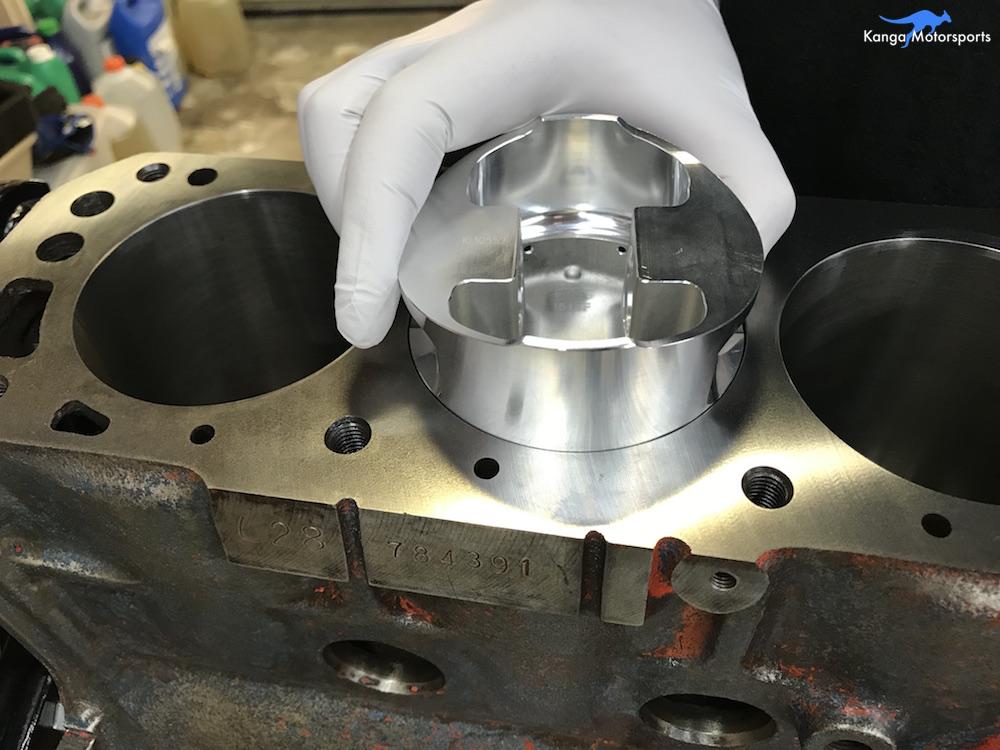 Kanga Motorsports Datsun 240z Engine Build Piston Ring Gap Flatten with Piston.JPG