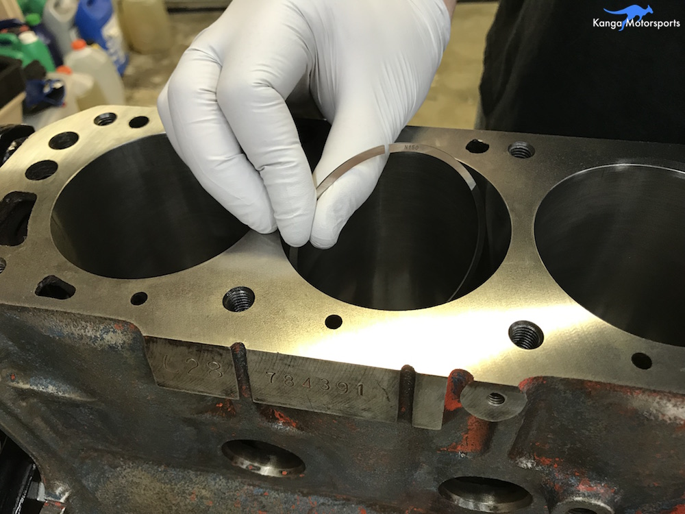 Kanga Motorsports Datsun 240z Engine Build Piston Ring Gap Insert into Block.JPG