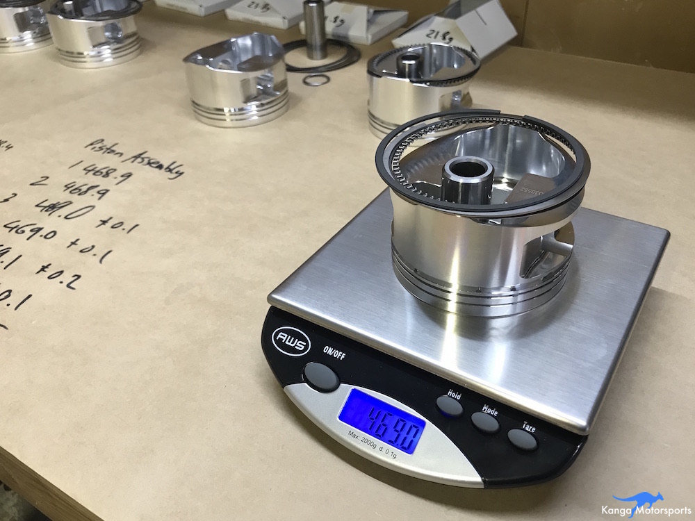 Kanga Motorsports Datsun 240z Engine Build Piston Balancing Checking all the Assembly Weights.JPG