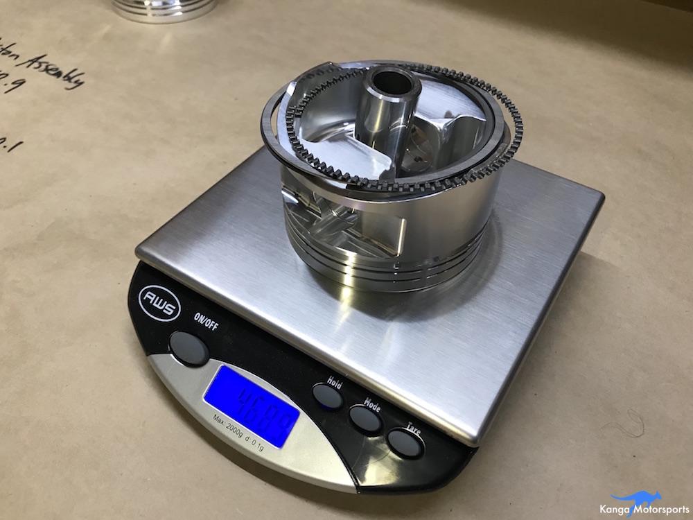 Kanga Motorsports Datsun 240z Engine Build Piston Balancing Checking the Weight.JPG