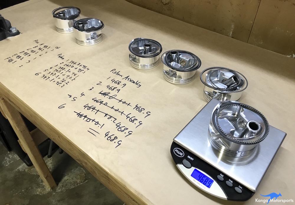 Kanga Motorsports Datsun 240z Engine Build Piston Balancing Final Weights.JPG