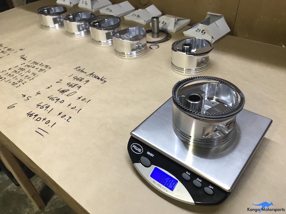 Kanga Motorsports Datsun 240z Engine Build Piston Balancing Minimum Weight Assembly.JPG