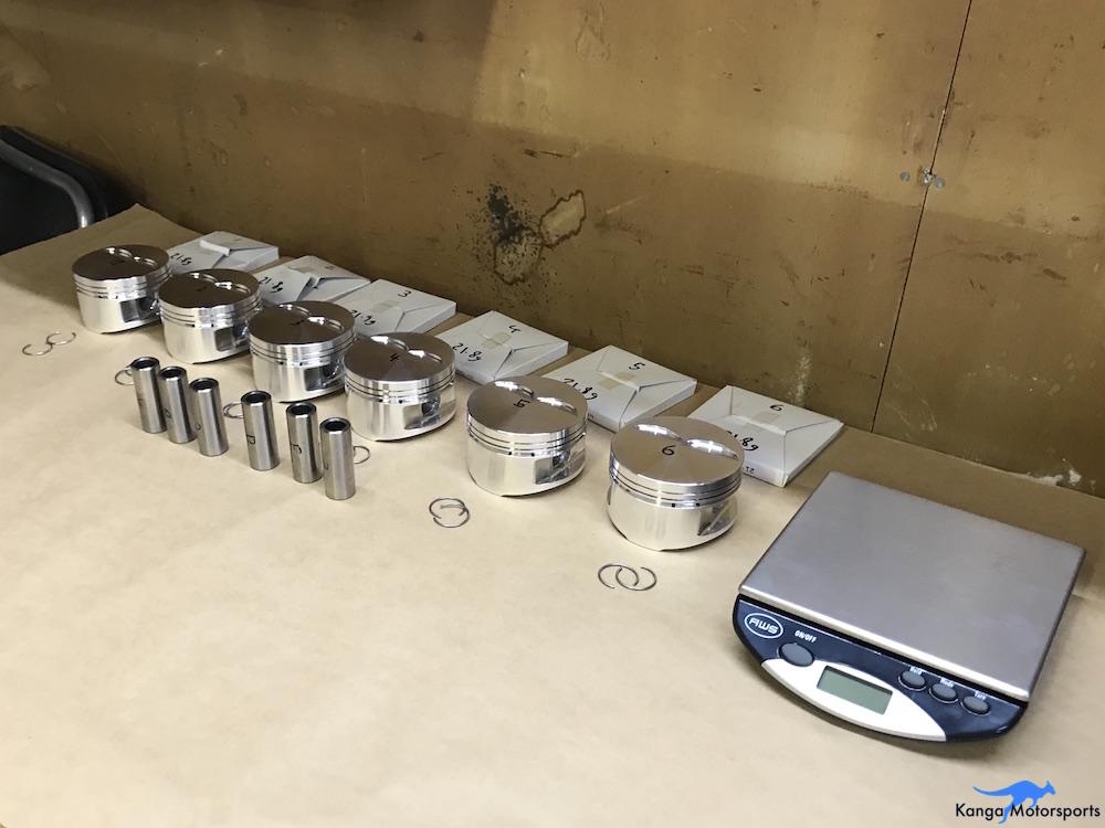 Kanga Motorsports Datsun 240z Engine Build Piston Balancing Piston Assembly Components.JPG