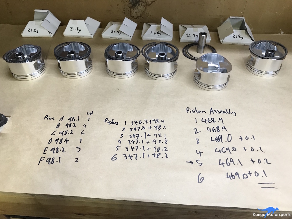 Kanga Motorsports Datsun 240z Engine Build Piston Balancing Assign Piston Pins to Match Weights.JPG