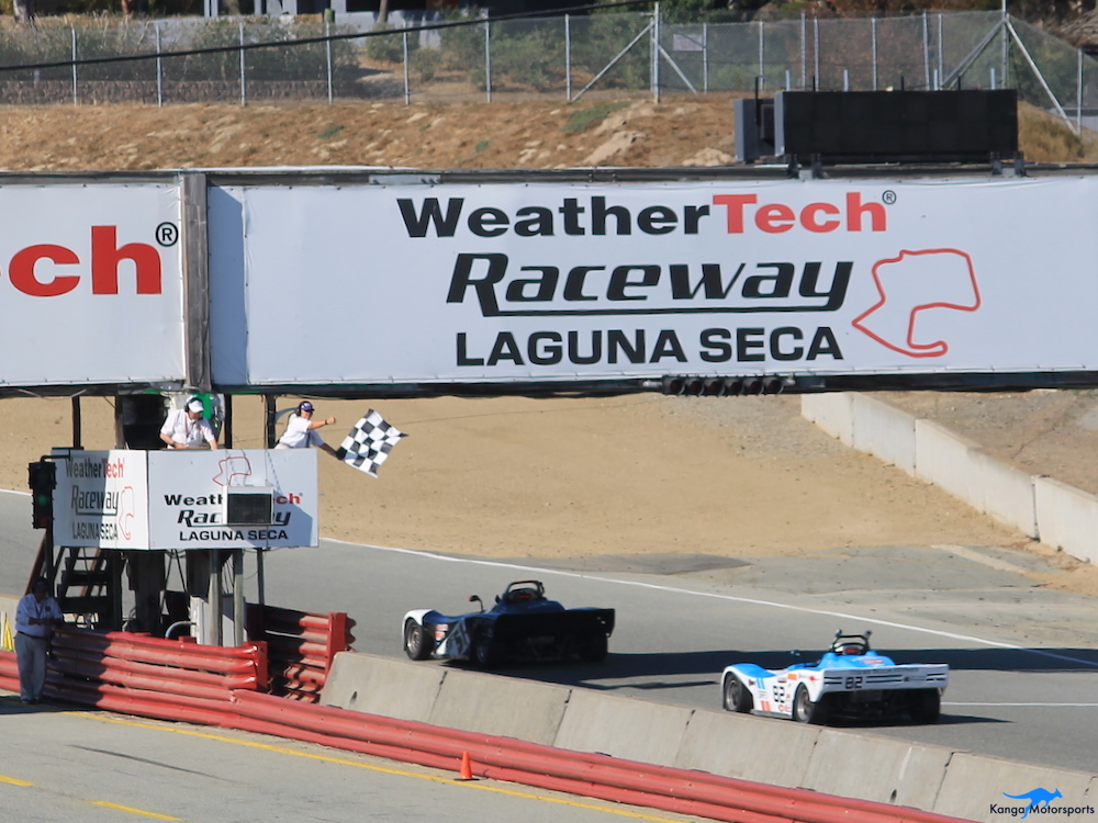Kanga Motorsports Spec Racer Ford Gen3 WeatherTech Raceway Laguna Seca SCCA Double Regional Race 11 Checkered Flag Close Up.JPG