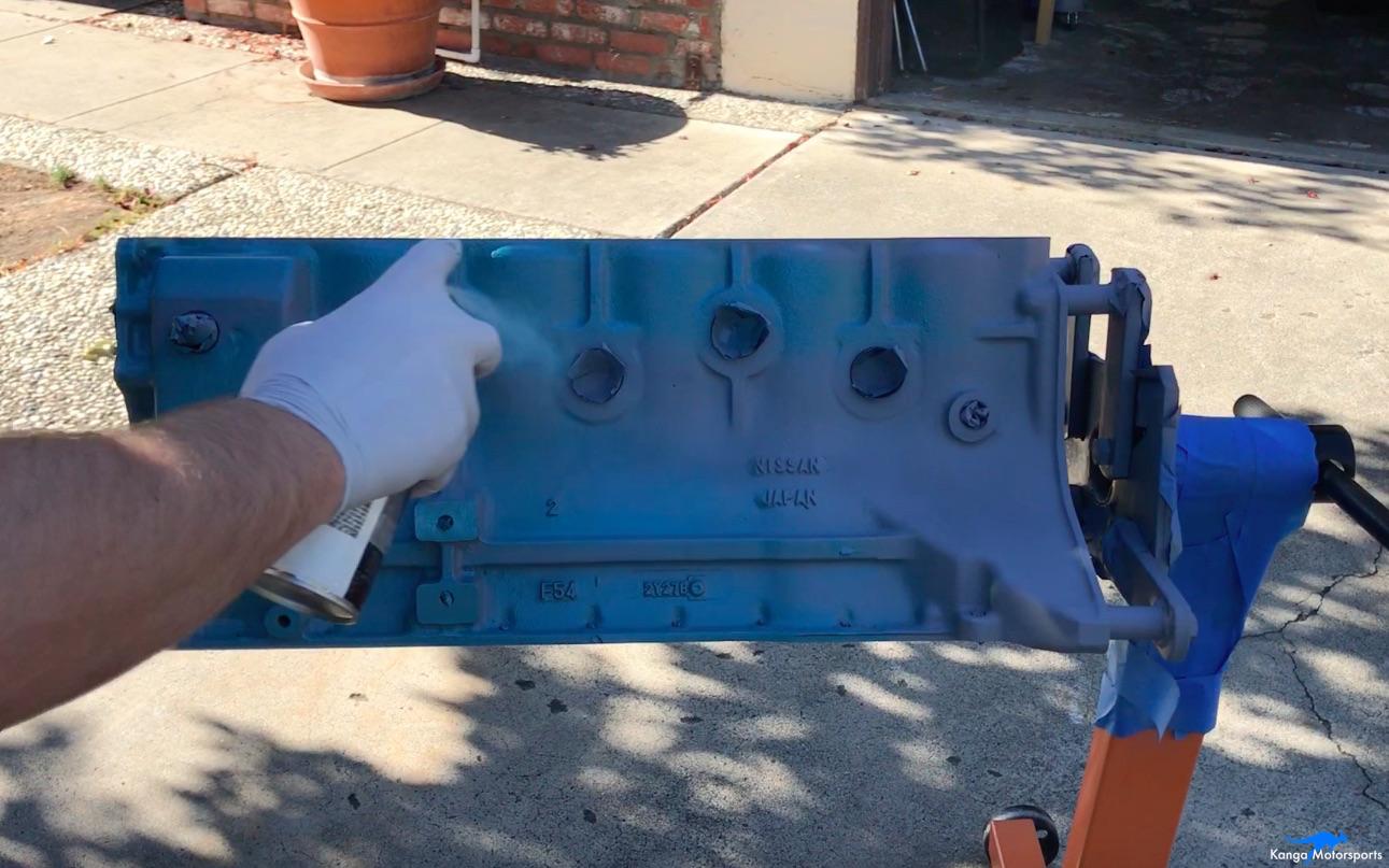 Kanga Motorsports Datsun 240z Engine Build Painting the Engine Block First Color Coat.jpg