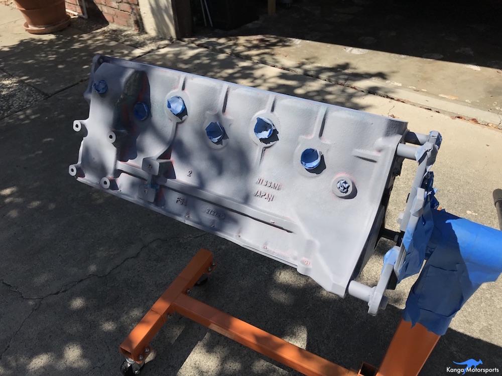Kanga Motorsports Datsun 240z Engine Build Painting the Engine Block Primer First Light Coat.JPG