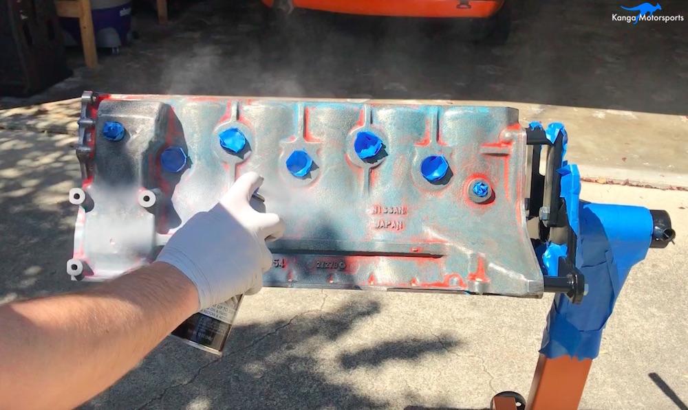Kanga Motorsports Datsun 240z Engine Build Painting the Engine Block Primer First Coat.jpg