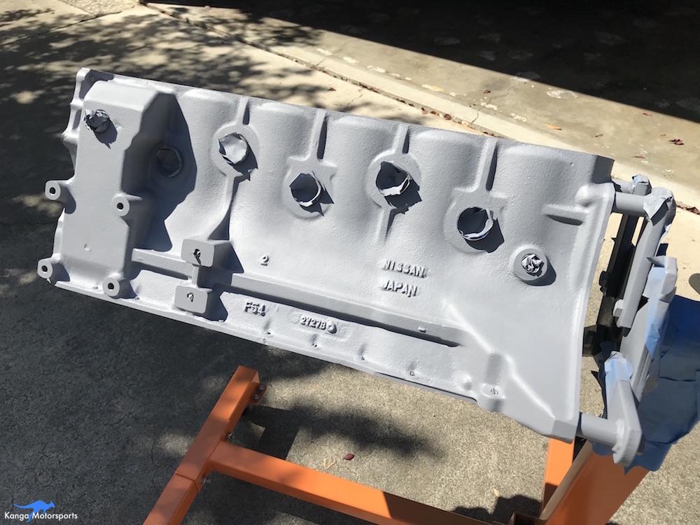 Kanga Motorsports Datsun 240z Engine Build Painting the Engine Block Primer Coats.JPG