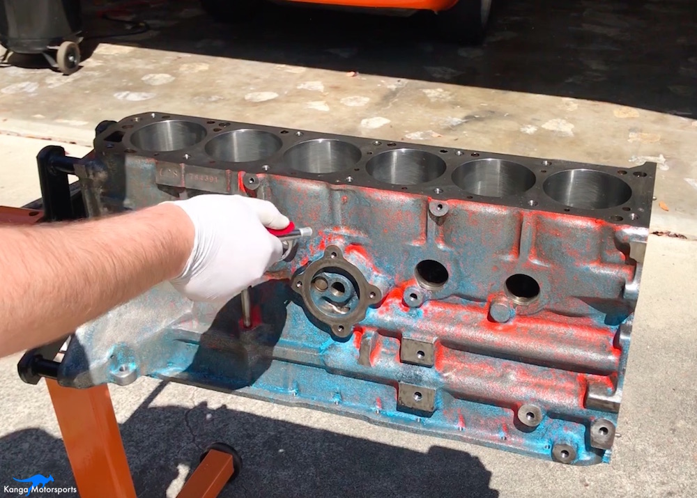Kanga Motorsports Datsun 240z Engine Build Painting the Engine Block Compressed Air Cleaning.jpg