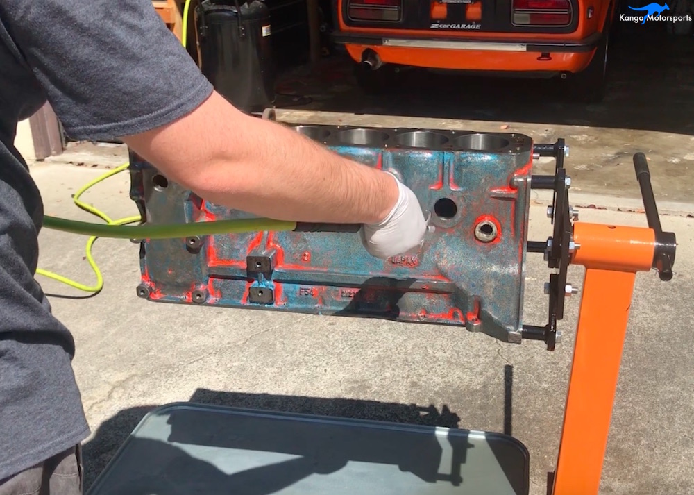 Kanga Motorsports Datsun 240z Engine Build Painting the Engine Block Compressed Air.jpg