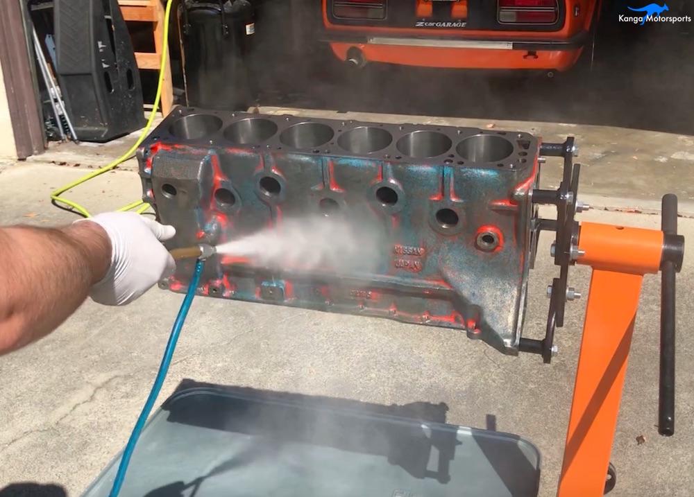 Kanga Motorsports Datsun 240z Engine Build Painting the Engine Block Mineral Spirits Spray.jpg